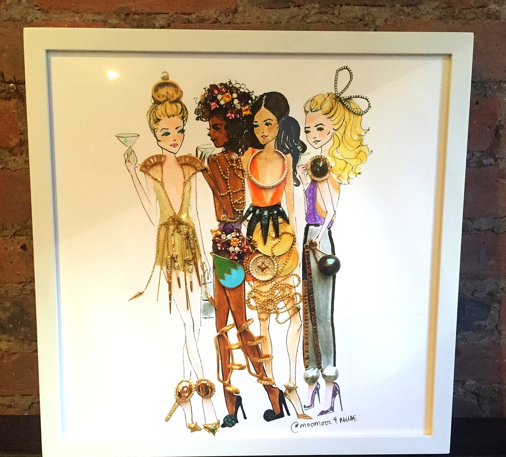 Meredith Wing art, custom made drawings of MUSE designer's collections.