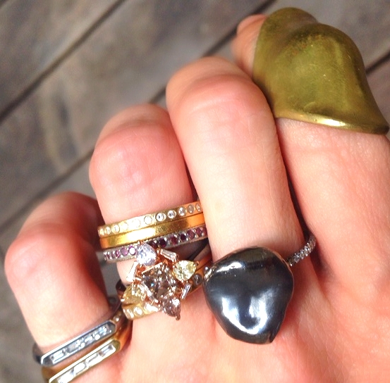A glorious stack of MUSE designers, plus Jennifer's vintage Robert Lee Morris ring on her pointer finger.