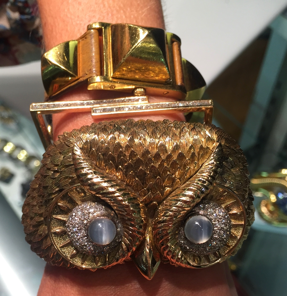 A custom owl bracelet with moonstone eyes, commissioned in the 1970s.
