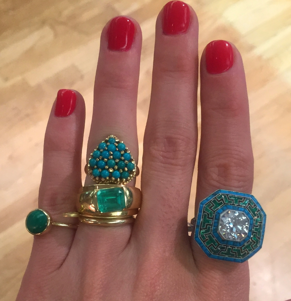 Mosaic turquoise and emerald surrounding a hand-cut solitaire diamond form Simon Teakle.