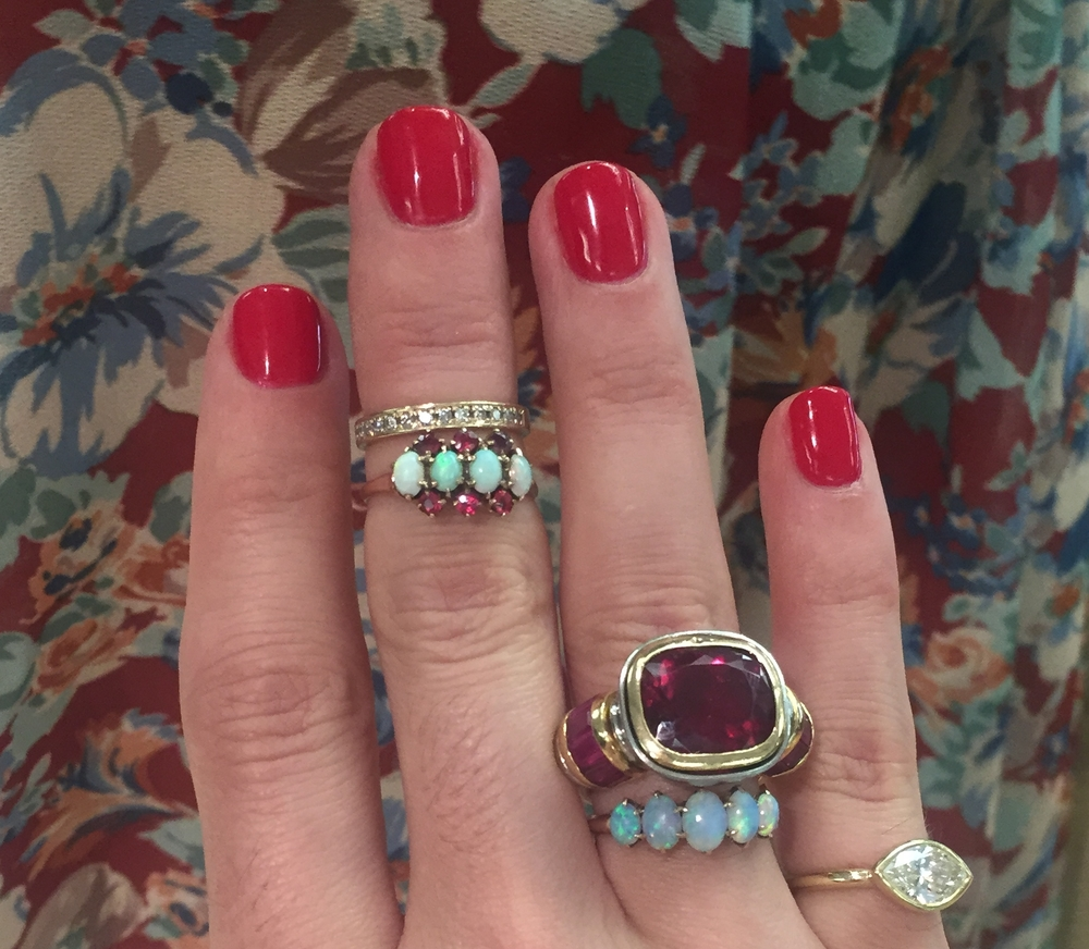 Robin'sHemmerle rubellite flanked with our own opals.