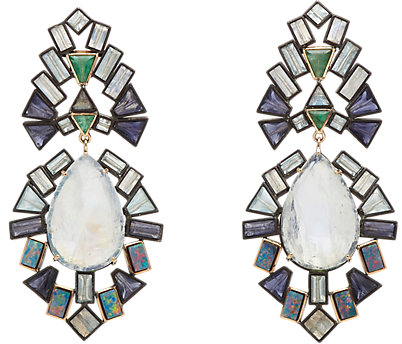 Nak Armstrong18k rose gold and oxidized silver double-drop earrings with tanzanite, red boulder opal, rainbow moonstone, labradorite, aquamarine and emerald, $6,500,  available at Barneys New York .
