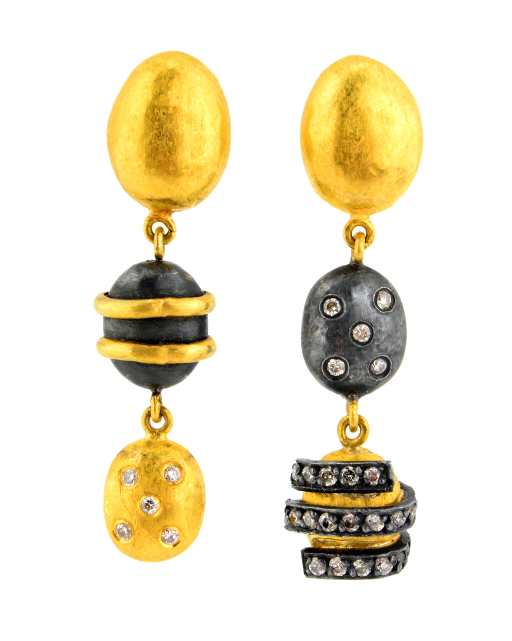 Yossi Harari Helen Diamond, gold and Gilver Earrings,$5,400, available at  Stanley Korshak .