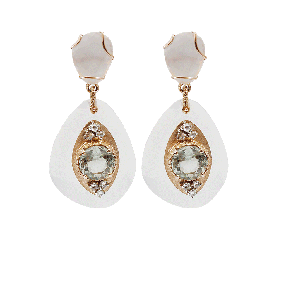 Federica Rettore  one-of-a-kind milky quartz, prasiolite and diamond drop earrings in 18k gold, $9,450, available at  Marissa Collections .