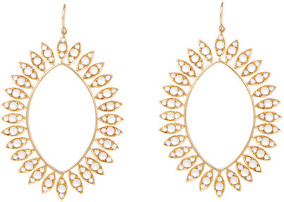 Irene Neuwirth  18k gold oversize drop earrings with round moonstone cabochons and rose-cut diamonds, $16,350,  available at Barneys New York .