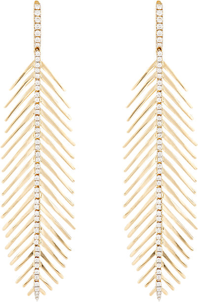 Sidney Garber flexible feather drop earrings in 18k gold and diamonds, $8,900,  available at Barneys New York .