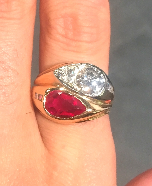 Vintage ruby and diamond ring in 18K gold by SHAY. Their estate pieces are incredible.