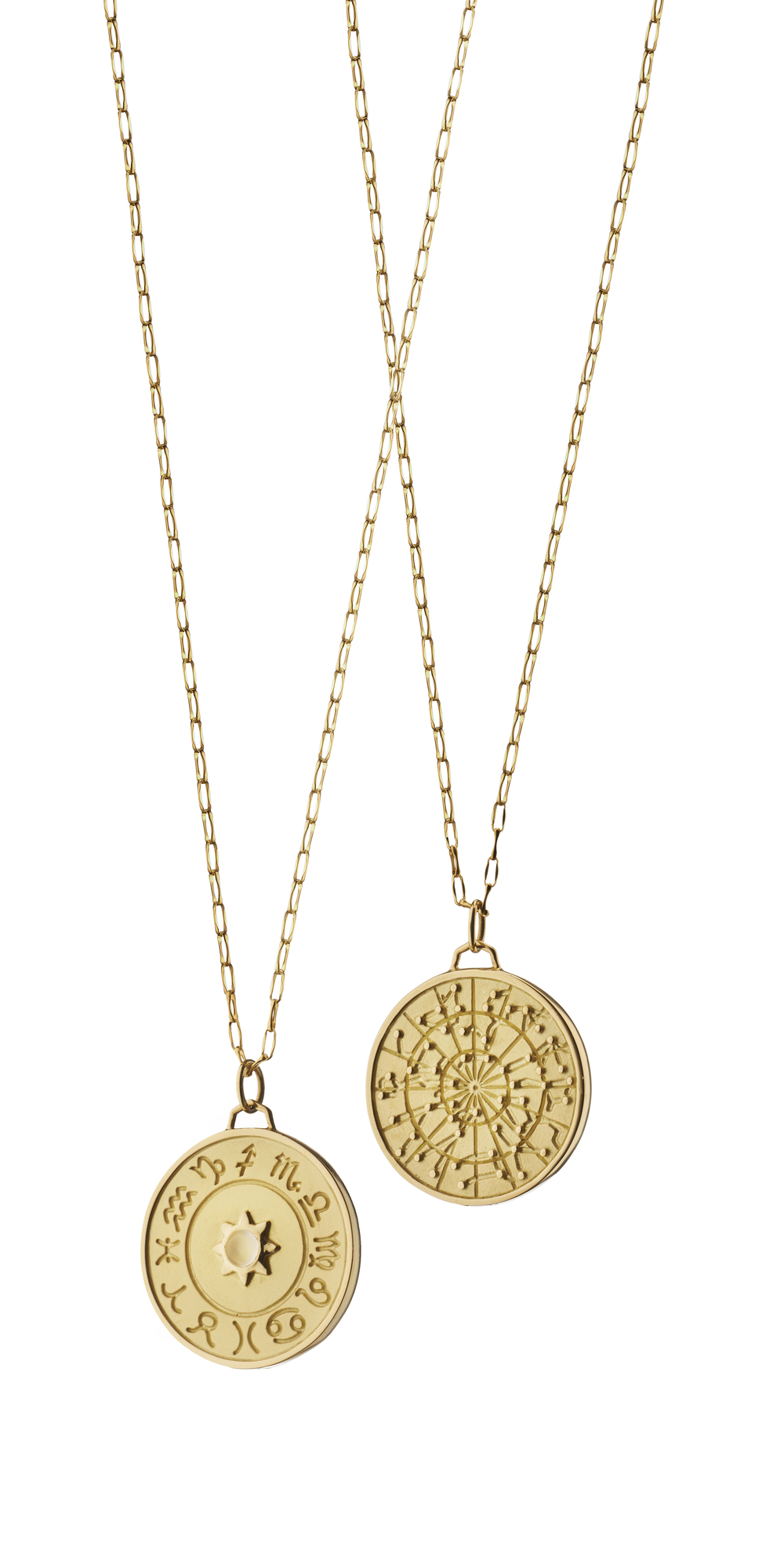 More newness -- Zodiac pendants in 18k yellow gold.
