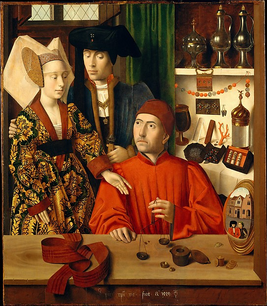 """""""A Goldsmith in his Shop"""" byPetrus Christus, 1449, oil on oak panel. We love this image of a couple waiting for their wedding rings in a small shop overlooking the street."""
