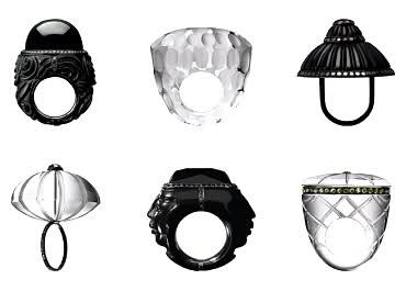 Parisian designerMuriel Grateau's hand-carved rings.