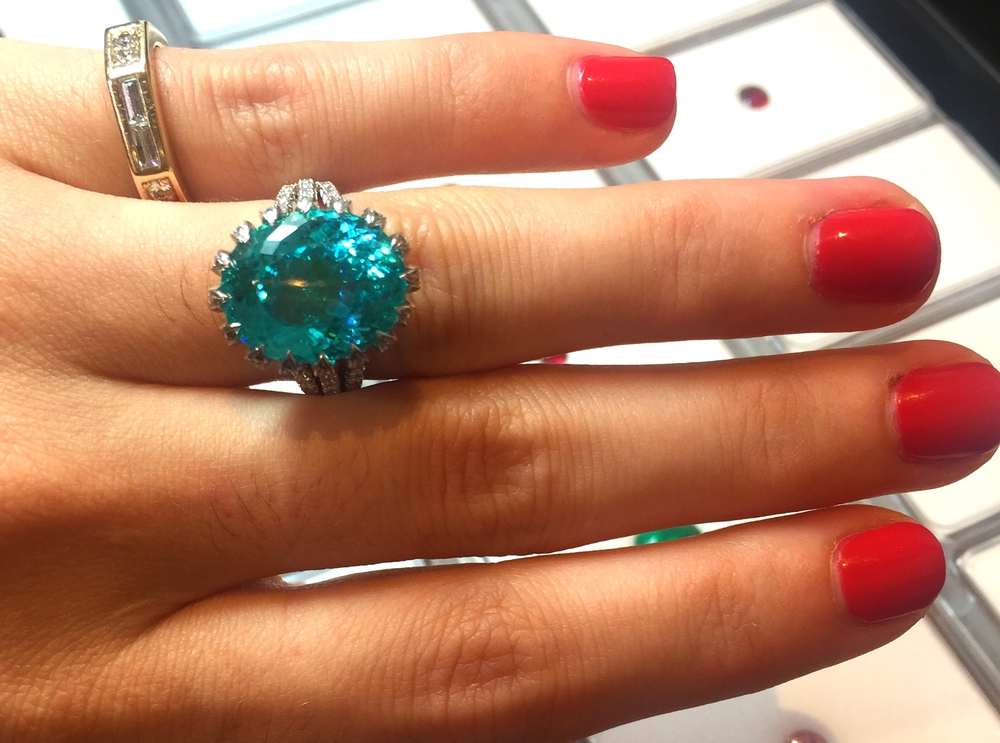 One of the biggest paraiba tourmalines we had ever seen in person.