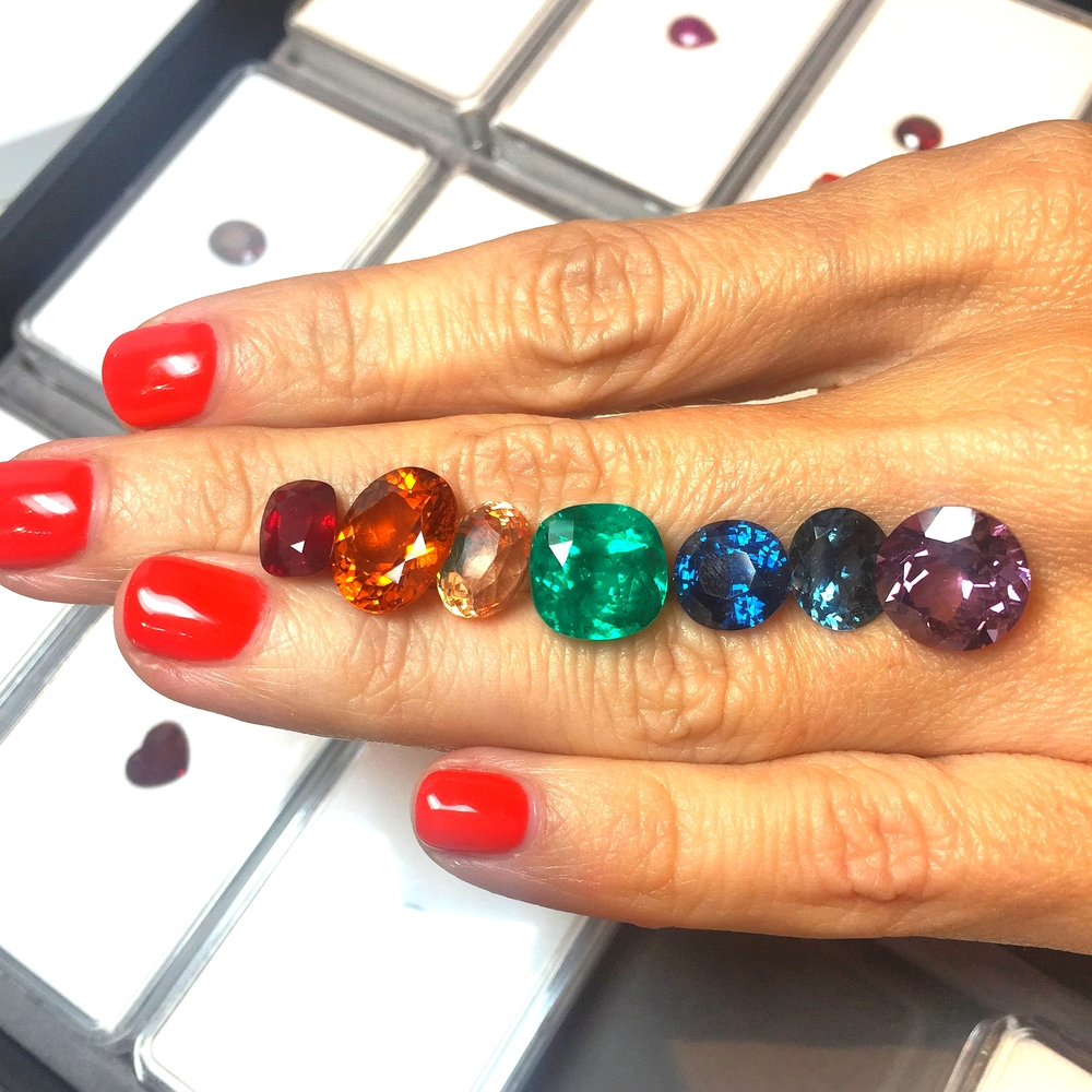 A little Roy G. Biv made up of ruby, sapphires, emerald, and spinel? Anyone?