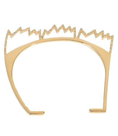 This was among the first Basquiat-inspired pieces by Carole Le Bris Perez. Theopen cuff is in 18K yellow gold and diamonds and features her take on JMB's famous crown insignia.