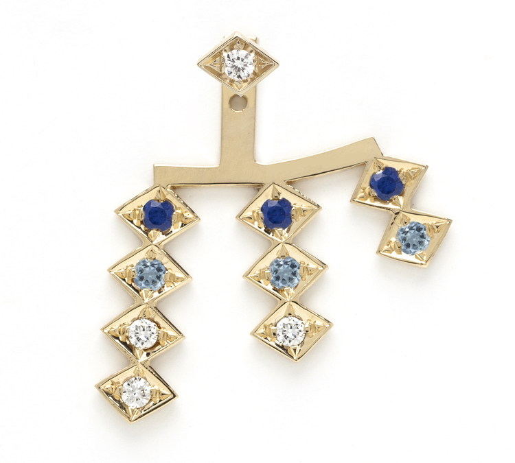 Triple Burst ear jacket in 18K yellow gold with sapphire, aquamarine and diamonds, $1,370.