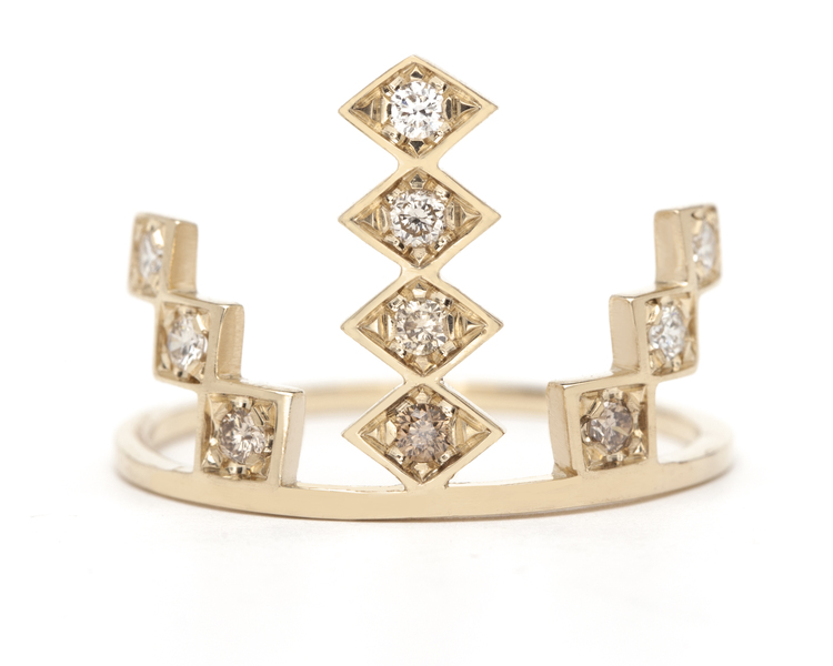 Triple Burst ring in 18K yellow gold, $1,375.