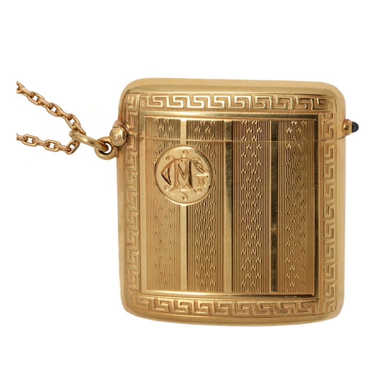 One of us is probably/definitely a pyromaniac, so this one was for sure making the cut. We are obsessing over this 18K yellow gold monogrammed Art Deco match safe from 1910-1920 that could definitely double as a locket. Available from  Wanna Buy a Watch via 1stdibs.com .