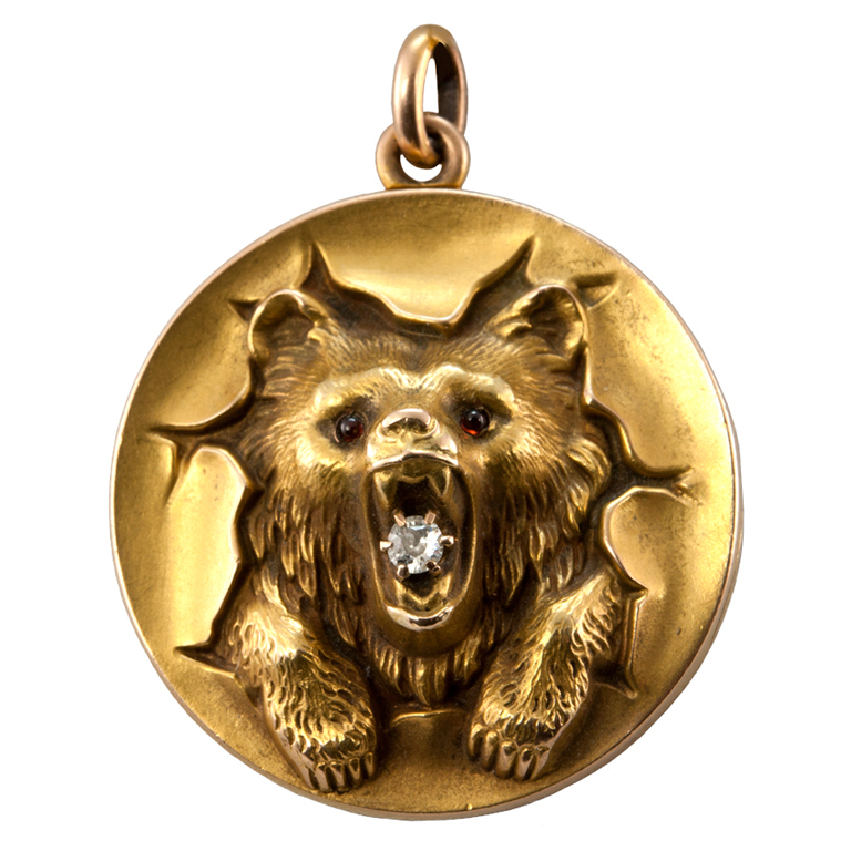 Um, this is everything. ROAR. 10K bear locket with garnet eyes and a diamond c. 1900 available from  Craig Evan Small via 1stdibs.com .