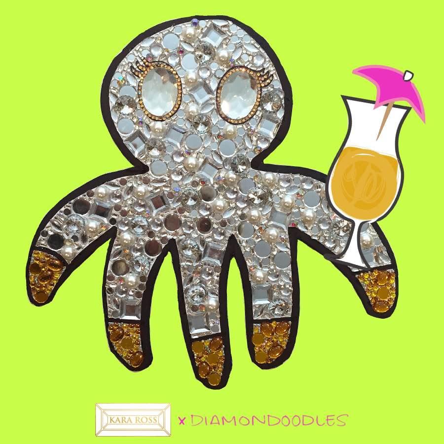 Opal the Octopus, a Kara Ross brand character, enjoying a cocktail.