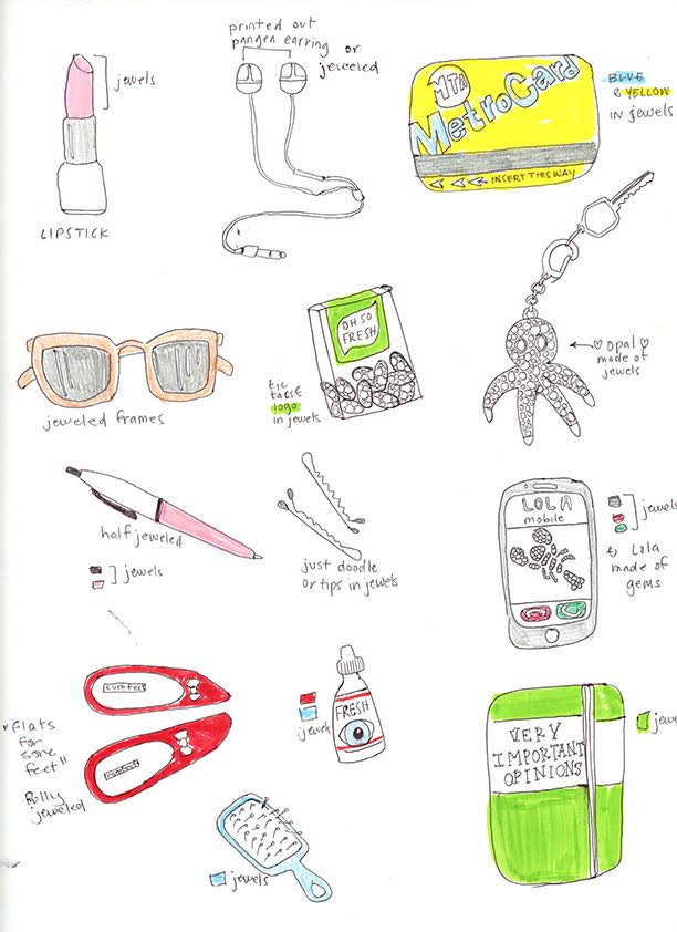 A behind-the-scenes look at sketches made by Hannah to pick what pieces would go in the handbag.