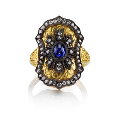 Arman Sarkisyan  22k yellow gold shield ring with sapphire and diamonds, $6,050,  available at Single Stone .