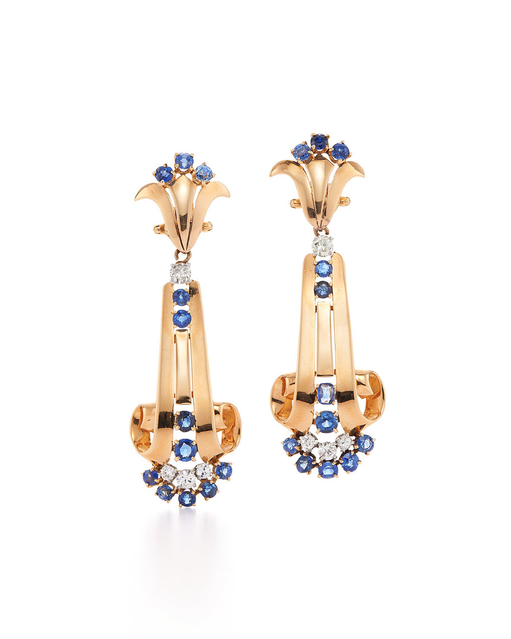 Fred Leighton  sapphire & diamond retro clip earrings by Verger, $17,000,  available at Bergdorf Goodman .