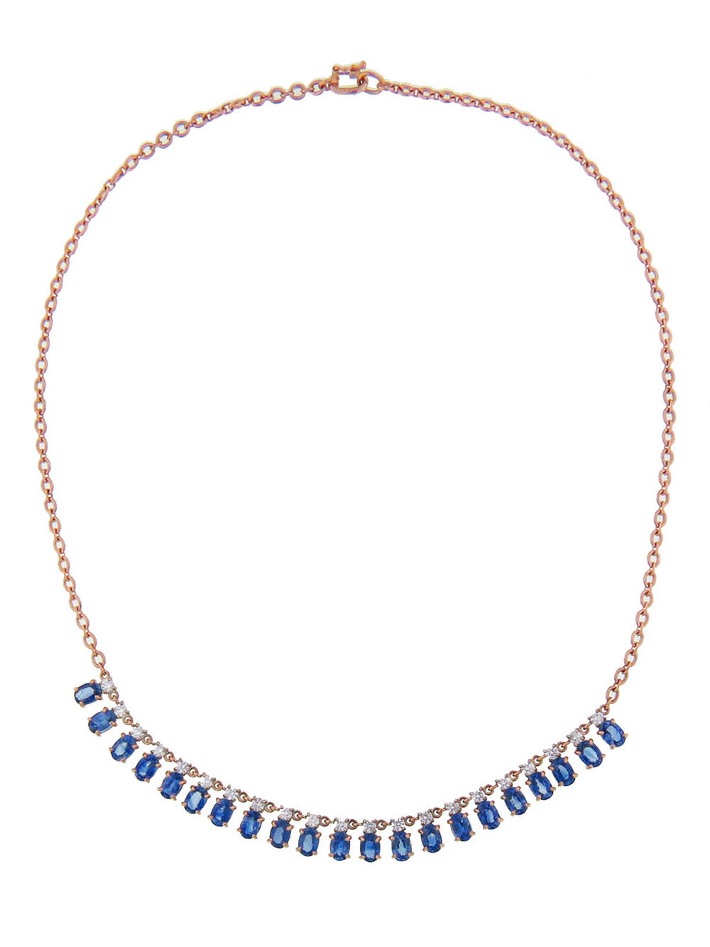 Irene Neuwirth Ceylon sapphire and diamond necklace in rose gold, $19.960,  available at Ylang23 .