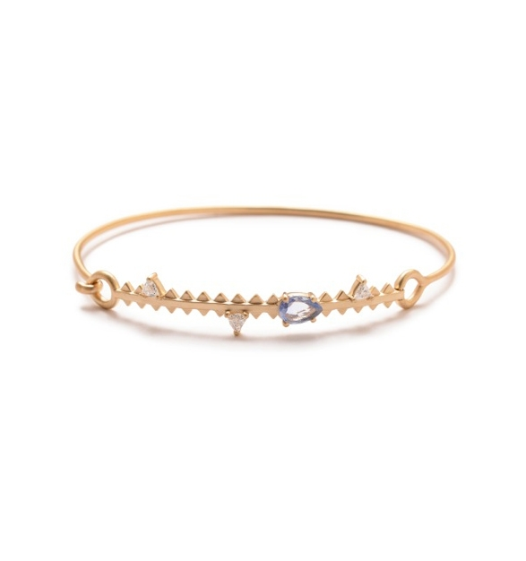 Michelle Fantaci  sapphire and diamond Fan Edge bracelet in 14k gold, $3,968,   available at Stone & Strand .