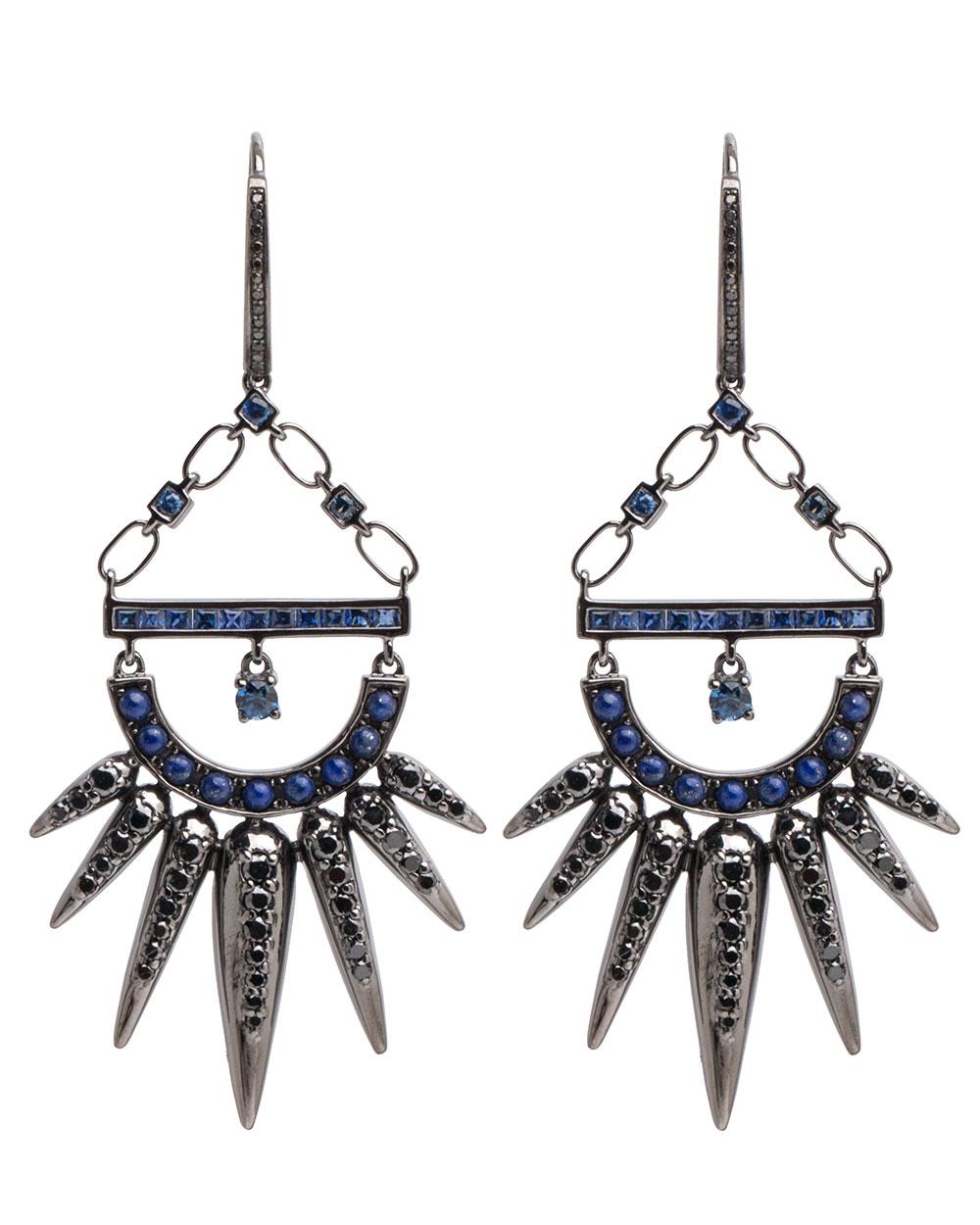 Nikos Koulis  18k gold sapphire Spectrum earrings,$6,470,  available at Stanley Korshak .