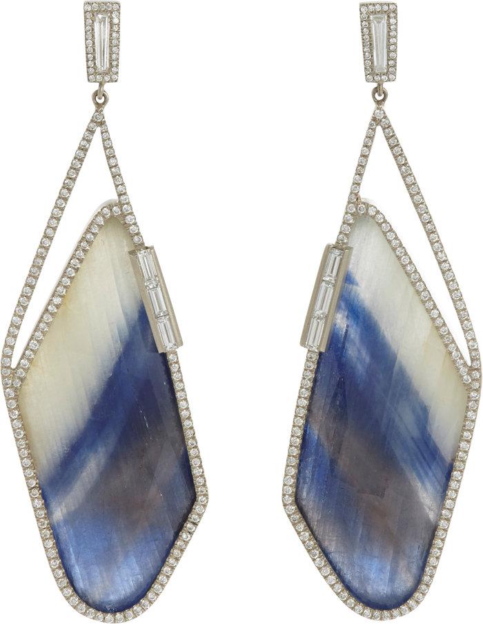 Monique Pean Atelier diamond & sapphire Slice Earrings, $25,890,  available at Barneys New York .
