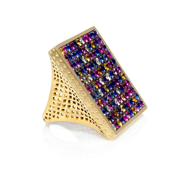 Ray Griffiths  18k gold and multicolored sapphire ring, $11,209,  available at Stone & Strand .
