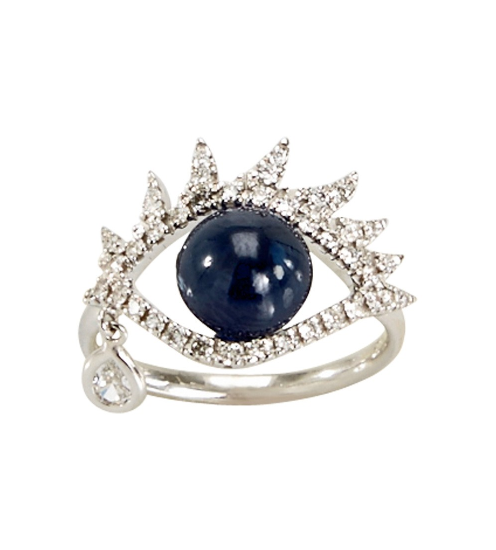 Sidney Garber  14k white gold eye ring with a cabochon sapphire, $4,375,  available at Just One Eye .
