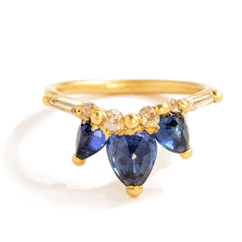 Polly Wales  Fleur de Lys sapphire and diamond ring, $5,900,  available at Greenwich Jewelers .
