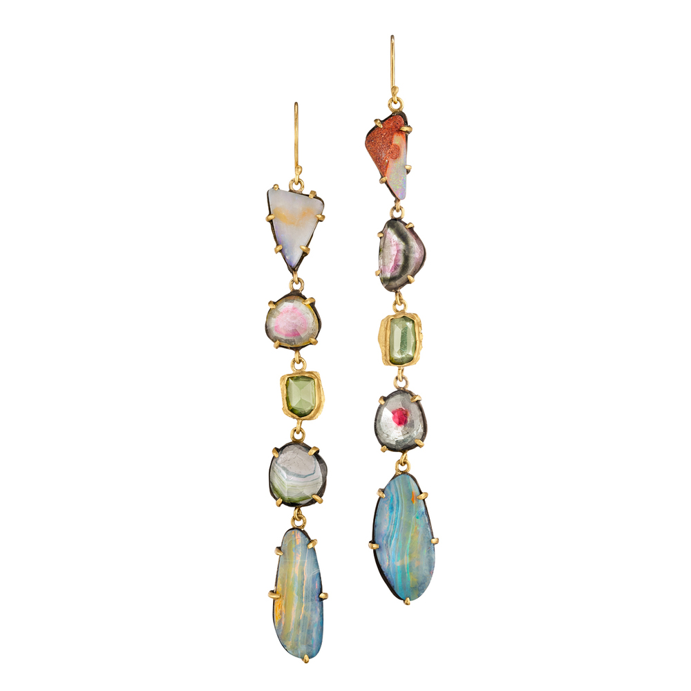 Perfectly Bohemian/luxe earrings featuring 22k/ss with tourmaline, opal and apatite.