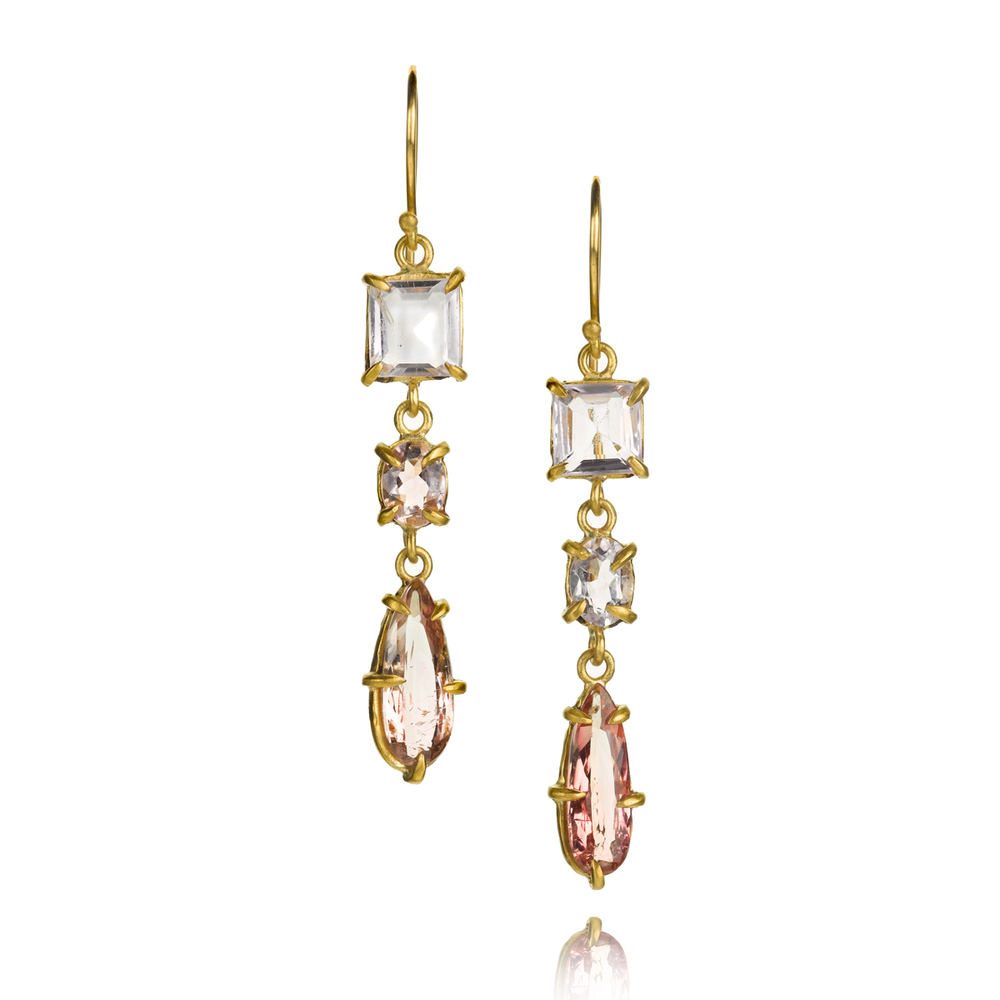 22k gold earrings with tourmaline, morganite and kunzite, $2,765.