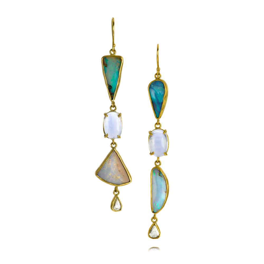 Margery's favorite pair she's made this year: in 22K gold featuring Boulder opal, moonstone and rose cut diamonds.