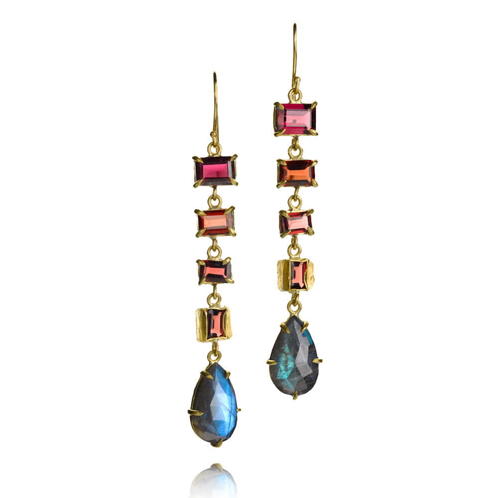 Color for days. We love these 22k earrings with rhodolite garnet and labradorite, $4,620.