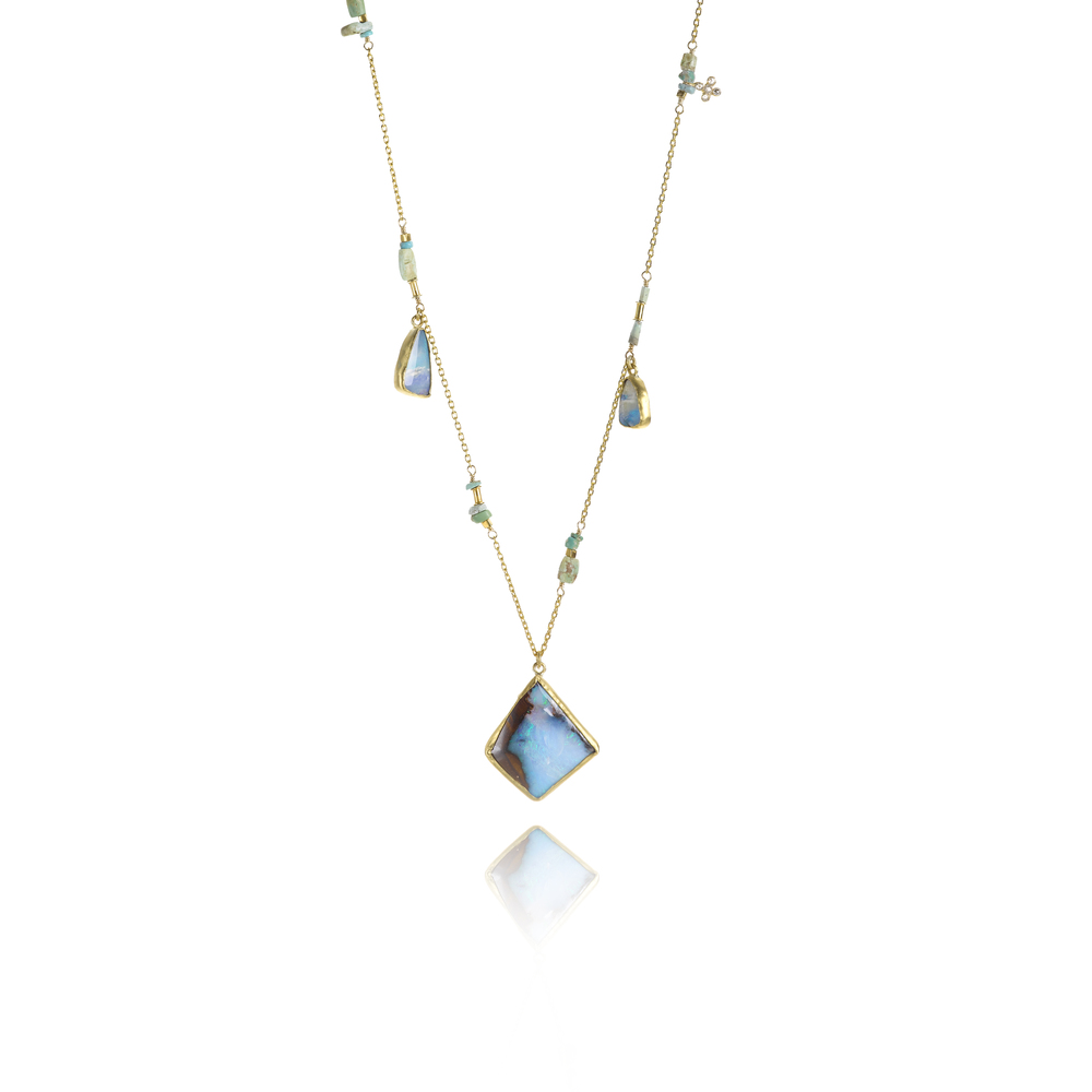 22k necklace with Boulder opal, turquoise and diamond, $6,580.