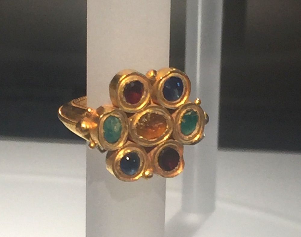 22K gold multi stone cluster ring in citrine, sapphire, emerald, ruby, aquamarine, and garnet