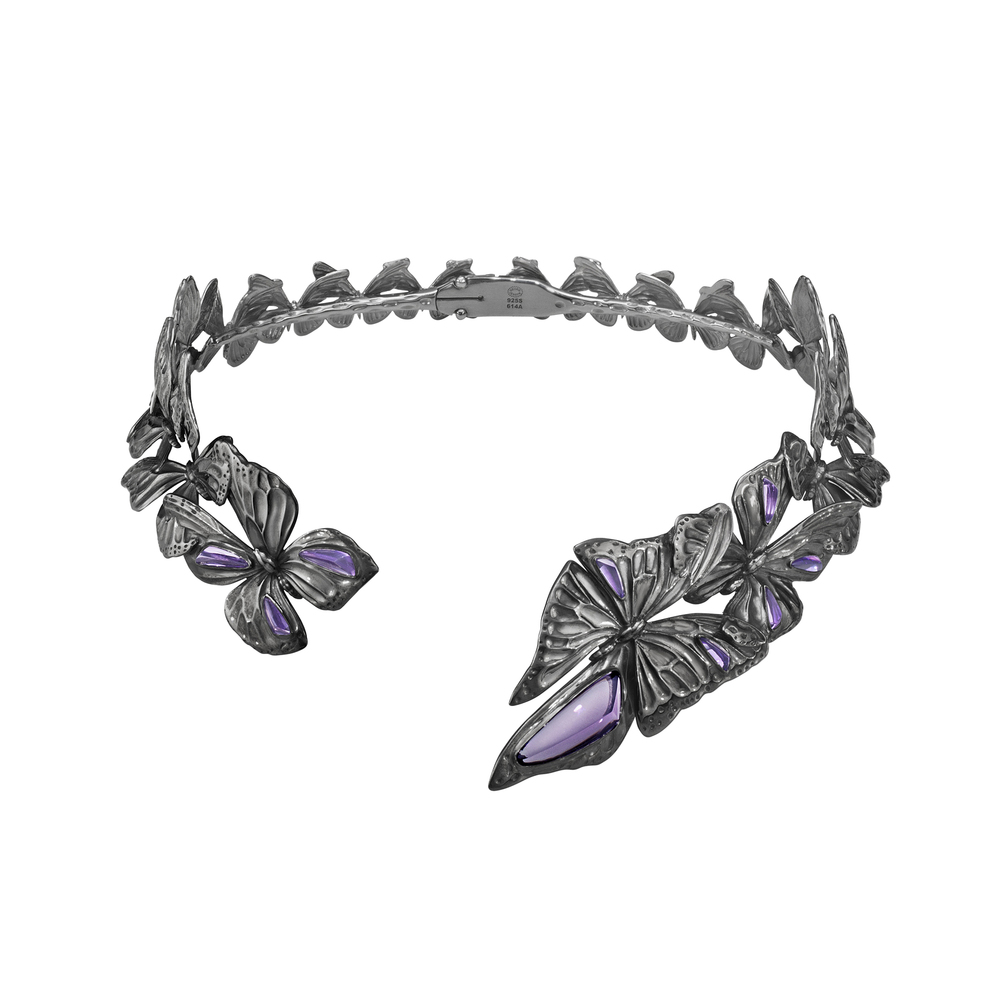 The Askill Collection for Georg Jensen  neckring in oxidized sterling silver with amethyst.