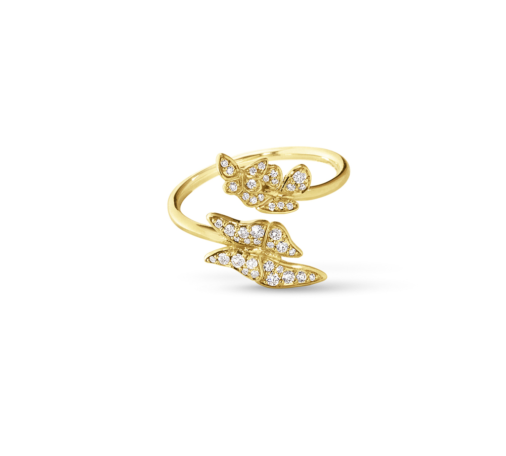 The Askill Collection for Georg Jensen  Butterfly ring in 18K gold and diamonds.