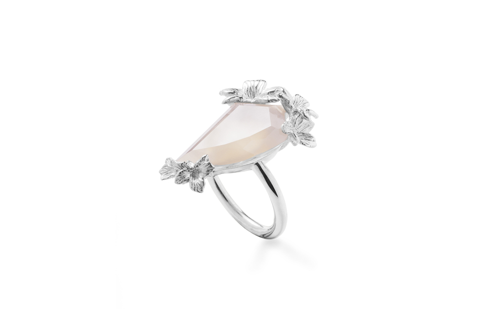 Jordan Askill  Viola Canadensis ring with bespoke faceted Brazilian agate.