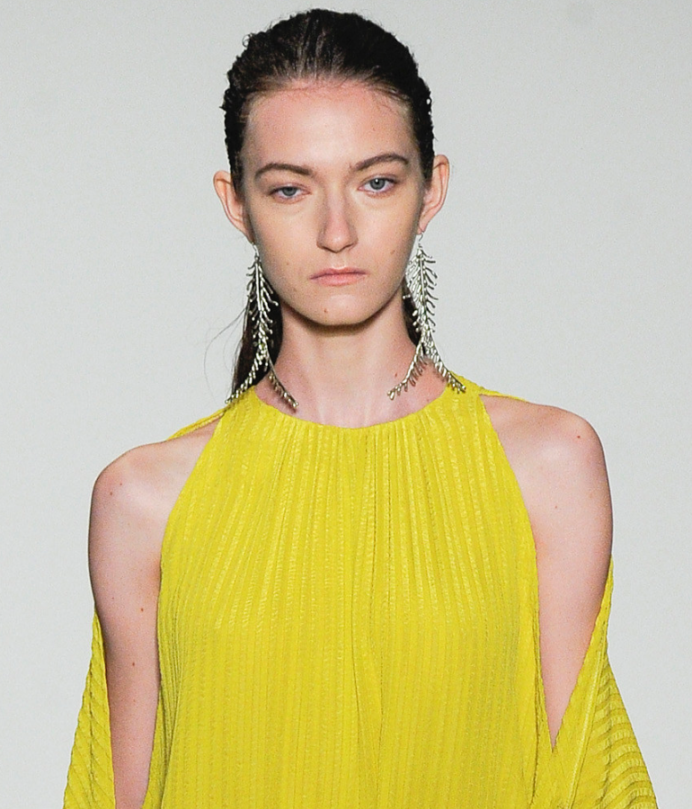 An up-close look at Anndra Neen's Fern earrings on the catwalk.