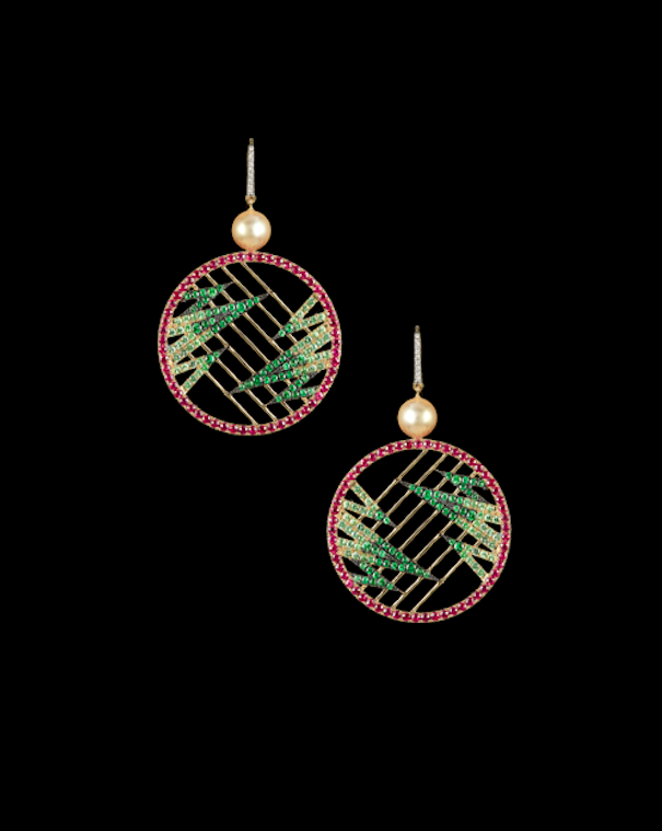 Zig Zag earrings in emeralds, rubies and diamonds with pearl accents.