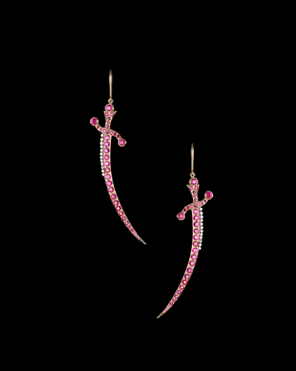 Talismanic Dagger earrings in rubies and diamonds.