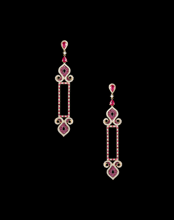 Aurora earrings in ruby and diamonds.