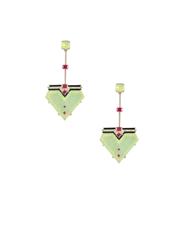 Bring it Back earrings in chalcedony, enamel, ruby and diamonds.