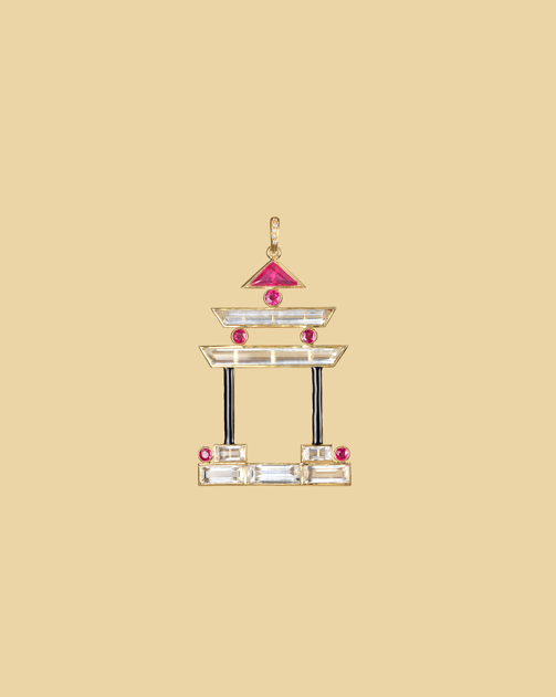 Pleasure Palace Pagoda pendant in rock crystal, ruby, enamel.