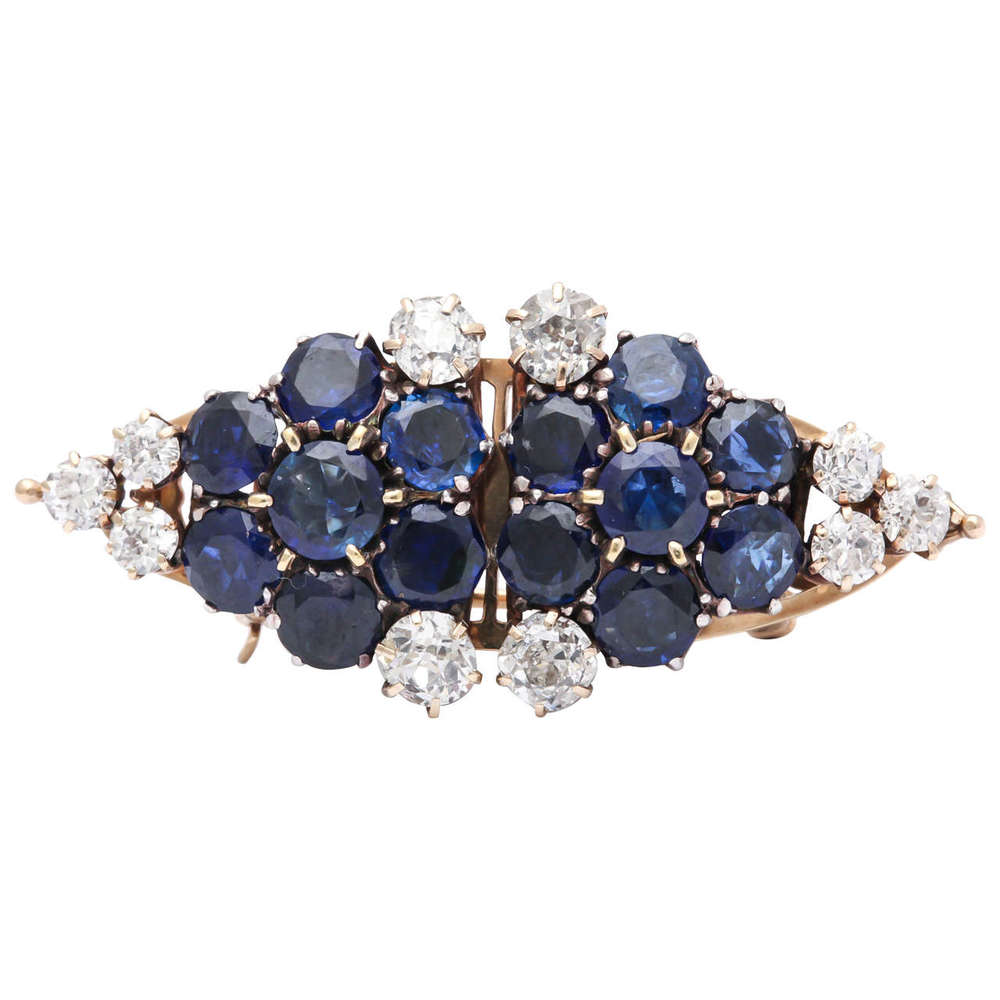 Take this  sapphire and old mine diamond double clip  apart and it's something blue for your wedding. We're thinking two little barrettes for your hair