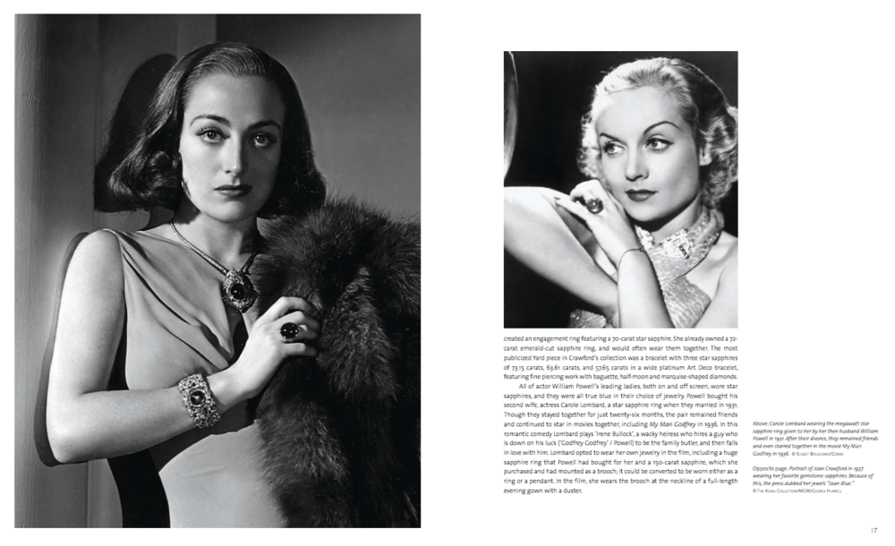 Joan Crawford, left, wearing a suite of sapphires. Myrna Loy, right, wearing the Star Sapphire engagement ring given to her by William Powell.