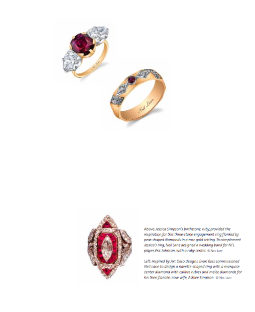 The ruby and diamond engagement rings made for Jessica (top) and Ashlee Simpson by Neil Lane.